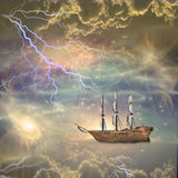 Sailing ship sails the stars Royalty Free Stock Image