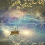 Sailing ship sails through the stars stock illustration