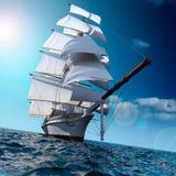 Sailing ship at sea stock illustration
