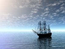Sailing ship in sea. 3D landscape Royalty Free Stock Photo