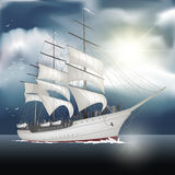 Sailing ship on the sea. On background. Vector illustration Royalty Free Stock Image