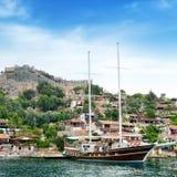 Sailing ship in the sea bay Stock Photo