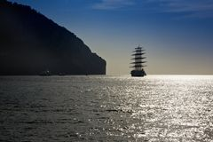 Sailing ship in the sea Royalty Free Stock Images