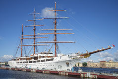 Sailing ship Sea Cloud II at the English Marina, sunny summer day. Saint Petersburg Stock Photo