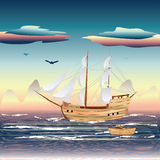 Sailing Ship on the Sea Royalty Free Stock Image