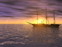 Sailing ship on sea at sunset Royalty Free Stock Photo