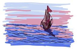 Sailing Ship in the Sea at Sunset Royalty Free Stock Photos