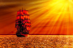 Sailing ship on the sea. At sunset skyline royalty free stock images