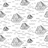 Sailing ship seamless outline vector pattern in doodle style. Stock Photo