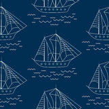 Sailing ship seamless outline vector pattern in doodle style. Royalty Free Stock Photography