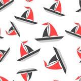 Sailing ship seamless pattern background icon. Business flat stock illustration