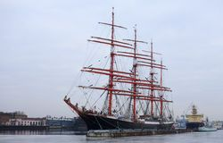 The sailing ship Sedov on the quay of Lieutenant Schmidt Stock Photo