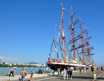 Sailing ship Sedov in the sea port of Sochi Royalty Free Stock Photo