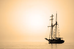 Sailing ship sepia toned. Royalty Free Stock Photo