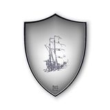 Sailing ship on the shield. Vector format Stock Images