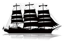 Sailing Ship Silhouette. Detailed sailing ship with lower reflection Stock Photos