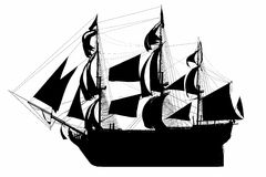 Sailing Ship Silhouette. HMS Royal Navy style Tall ship built-in the 1700's. Isolated clip art cutout Illustration on clean white background. Side view showing Royalty Free Stock Image