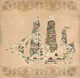 Sailing ship silhouette over antique map - retro postcard. On vintage paper background Royalty Free Stock Images