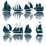 Sailing ship silhouettes. Collection over white background Stock Image