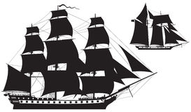 Sailing Ship silhouettes frigate and Schooner Stock Photo