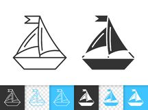 Sailing Ship simple black line boat vector icon royalty free illustration