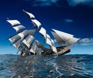 Sailing ship sinking vector illustration