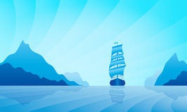 Sailing ship on skyline Royalty Free Stock Photography