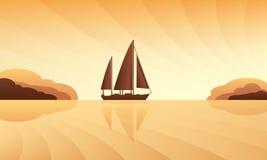 Sailing ship on skyline Royalty Free Stock Photos
