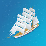 Sailing ship. Snow-white sails of the ship. Flat 3d isometric vector illustration. Stock Photo