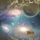 Sailing ship in space Royalty Free Stock Photo