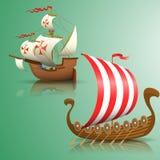 Sailing ship of Spain and  Viking Drakar. Royalty Free Stock Image
