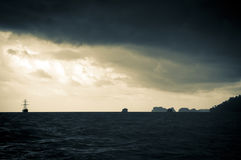 Sailing Ship in Storm Stock Photo