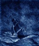 Sailing ship in a storm Royalty Free Stock Photos