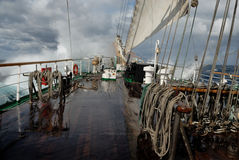 Sailing ship in a storm on the ocean Royalty Free Stock Photography