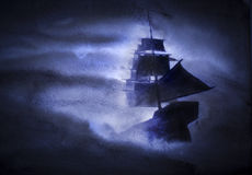 Sailing ship in a storm. Sailing ship in a strong storm royalty free stock photos