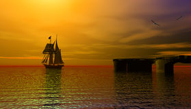 Sailing ship. Stunning sunrise over the sea with beautiful red clouds, 3d rendering Royalty Free Stock Photo