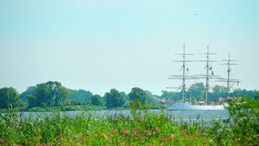 Sailing ship at sunny summer day stock video footage