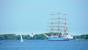 Sailing ship. At sunny summer day, The Tall Ships Races 2013, West Pomeranian, Oder River, Poland, Europe stock video footage