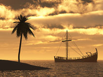 Sailing ship at sunset Royalty Free Stock Photography