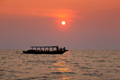 Sailing ship at sunset Stock Photography