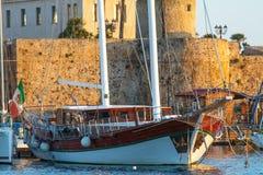 Sailing ship at sunset Stock Image