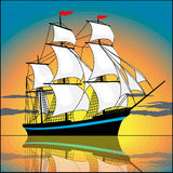 Sailing ship in the sunset Stock Image