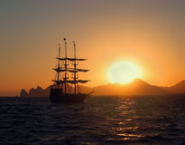 Sailing ship. Sunset. Stock Images