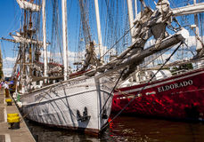 The sailing ship. SZCZECIN, POLAND - JUNE 15, 2014: The sailing ship Joanna Saturna during  Sail Szczecin 2014.The tall masts of sailing ships fill the harbour Stock Photos