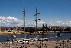 The sailing ship. SZCZECIN, POLAND - JUNE 15, 2014: Sail Szczecin 2014.The tall masts of sailing ships fill the harbour for a wonderful event perfect for Royalty Free Stock Image
