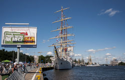The sailing ship. SZCZECIN, POLAND - JUNE 14, 2014: Sail Szczecin 2014.The tall masts of sailing ships fill the harbour for a wonderful three day event perfect Royalty Free Stock Photos