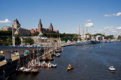 The sailing ship. SZCZECIN, POLAND - JUNE 14, 2014: Sail Szczecin 2014.The tall masts of sailing ships fill the harbour for a wonderful three day event perfect Stock Image