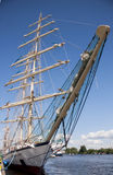 The sailing ship. SZCZECIN, POLAND - JUNE 15, 2014: Sail Szczecin 2014.The tall masts of sailing ships fill the harbour for a wonderful three day event perfect Royalty Free Stock Image