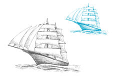 Sailing ship under sails in sea, sketch image Stock Photos
