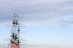 Sailing ship us flag 4th july. Big sailing ship us flag on stern mast on 4th of july Stock Photo